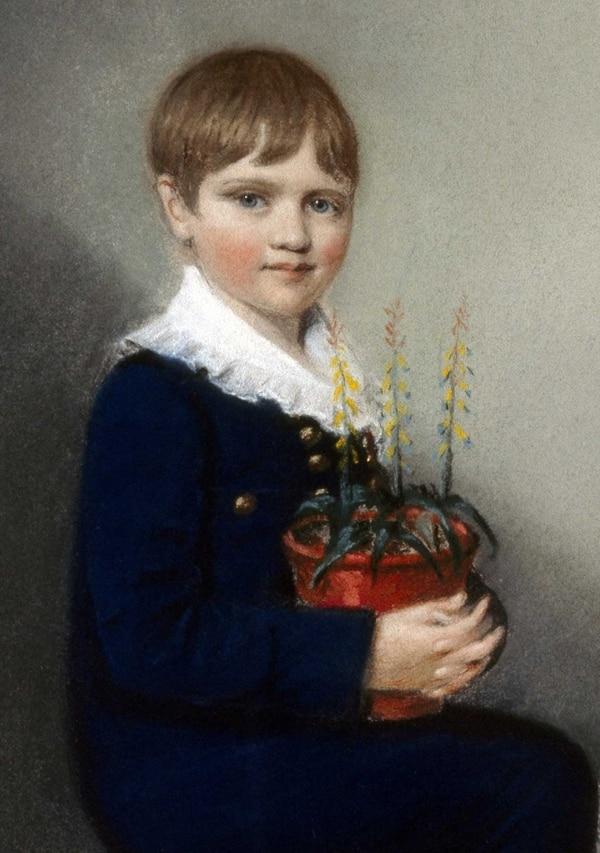 Óleo de Charles Darwin pintado en 1816, cuando él tenía siete años.