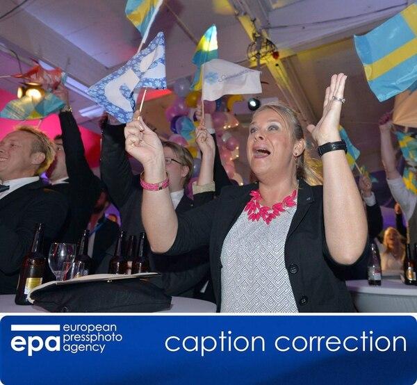 Partidarios del SD celebraban el domingo en Estocolmo. | EFE