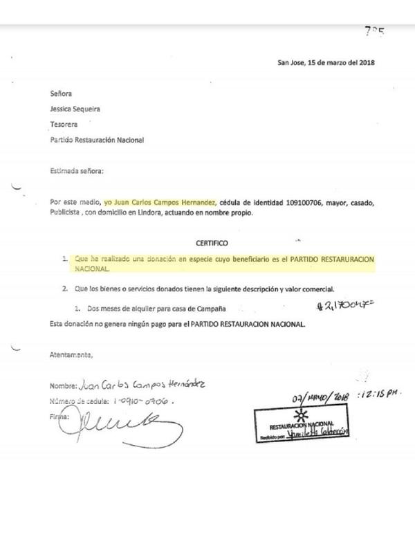 Declaración jurada que le entregó Campos al TSE, en la que asegura que él donó el alquiler de la sede de campaña