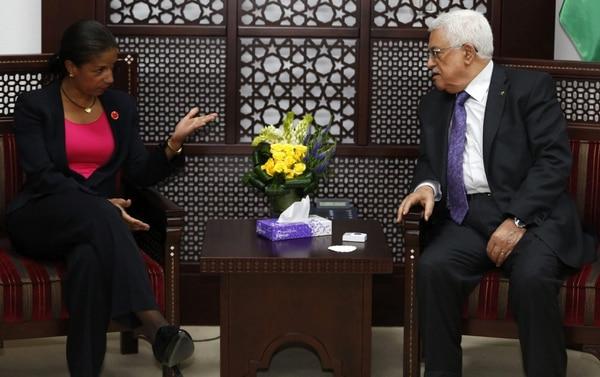 El presidente palestino, Mahmud Abas, llegó este jueves a Venezuela en visita oficial. El 8 de mayo pasado conversó con la asesora de Seguridad Nacional de Estados Unidos, Susan Rice, en Ramala.