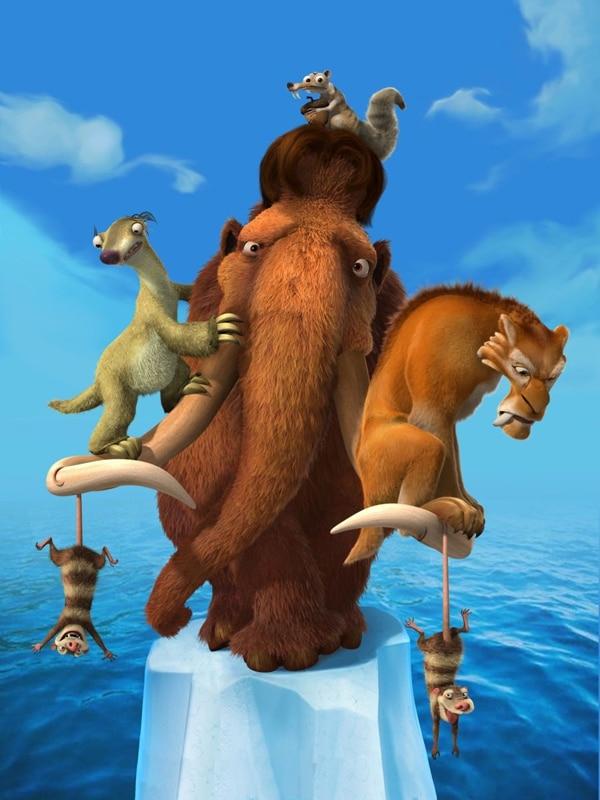 La saga de películas La Era del Hielo narra las aventuras de Manny, Diego y Sid, tres animales que viven durante la era glacial.