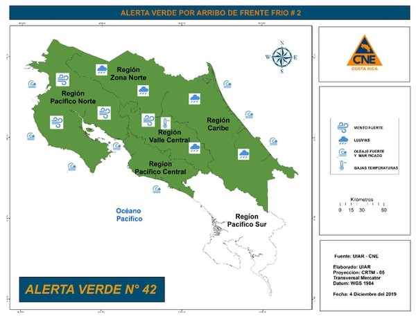 La CNE emitió la alerta para casi todo el país y especifica el tipo de afectación por sectores, con base en datos meteorológicos. Imagen: CNE.