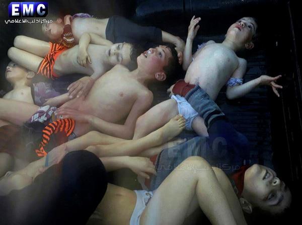 Varios niños resultaron afectados por el ataque químico en Siria.