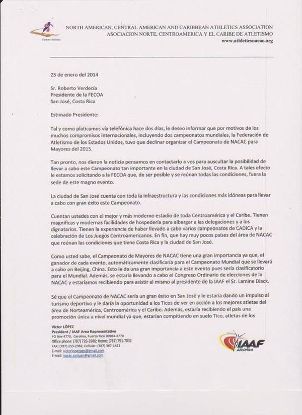 Esta es parte de la carta que envió la Federación Internacional de Atletismo a nuestro país.
