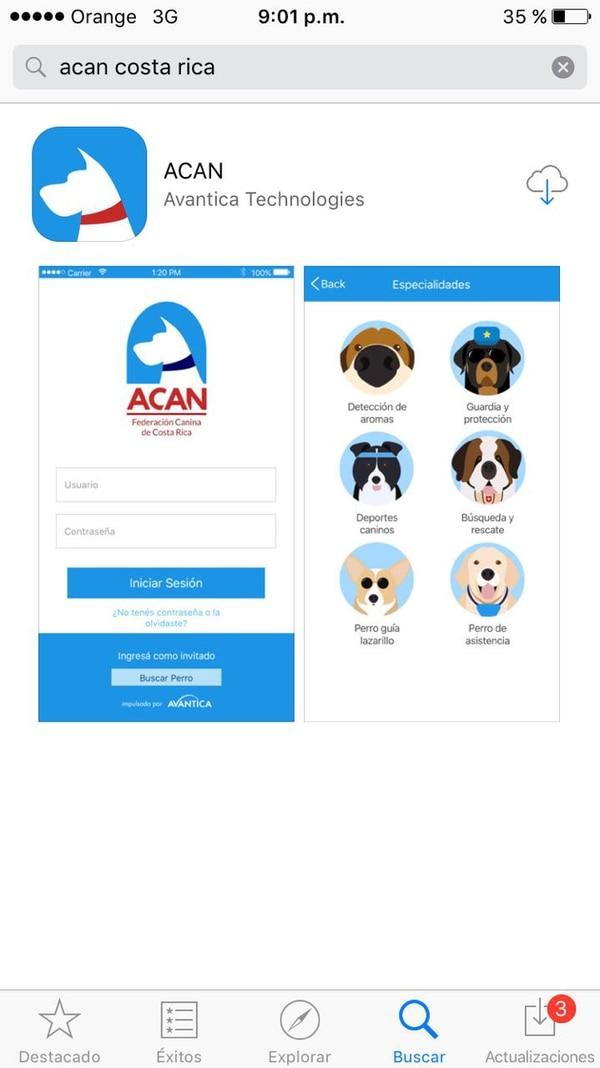 La aplicación aparece en la web con el nombre de ACAN Costa Rica. Fue creada por la empresa desarrolladora de software Avantica.