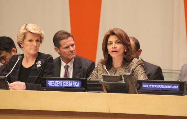 La presidenta Laura Chinchilla participó este miércoles en la ceremonia dedicada al Tratado sobre el Comercio de Armas, del cual Costa Rica fue el máximo impulsor en el seno de la ONU.