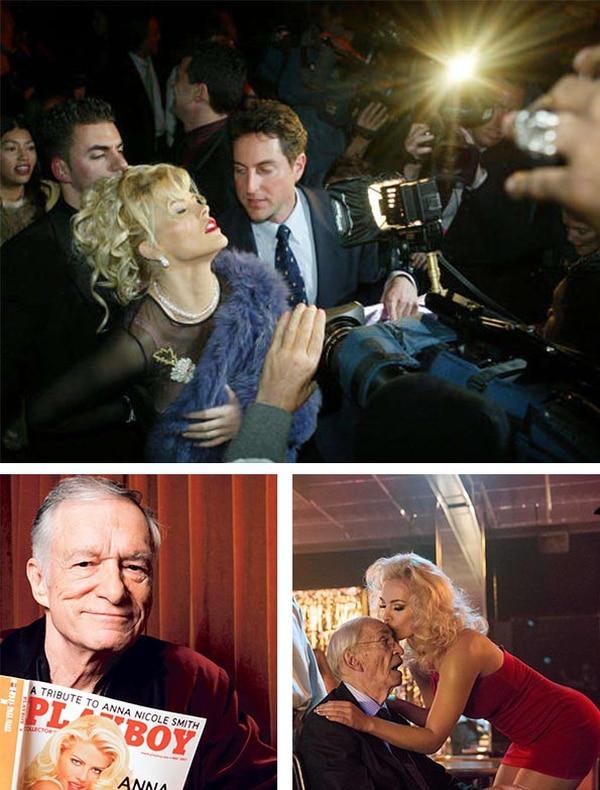 Hugh Hefner, fundador del imperio Playboy, fue quien descubrió a Anna Nicole y aprovechó el delirio que ella tenía por ser la nueva Marilin Monroe: de ahí el 'look' que llevó durante casi toda su vida como celebridad. A la derecha, dos imágenes de la película documental 'La historia de Anna Nicole', lanzada por 'Lifetime' en el 2013.   Fotos: ARCHIVO