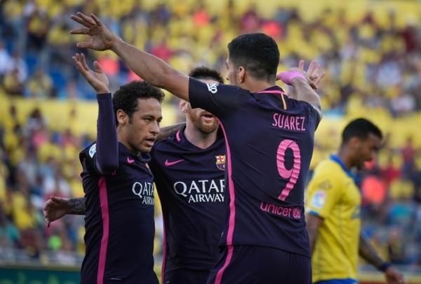 Neymar y Luis Suárez fueron los anotadores de los tantos del Barcelona ante Las Palmas.