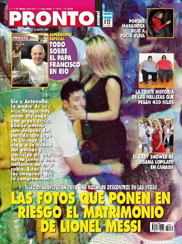 La Revista Pronto de Argentina publicó esta foto comprometedora del futbolista del Barcelona, Lionel Messi.