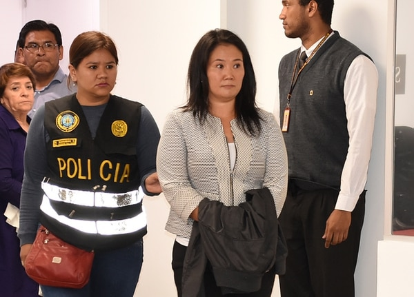 Keiko Fujimori cuando fue detenida, el miércoles 10 de octubre del 2018, por orden de la Fiscalía, en Lima. AFP