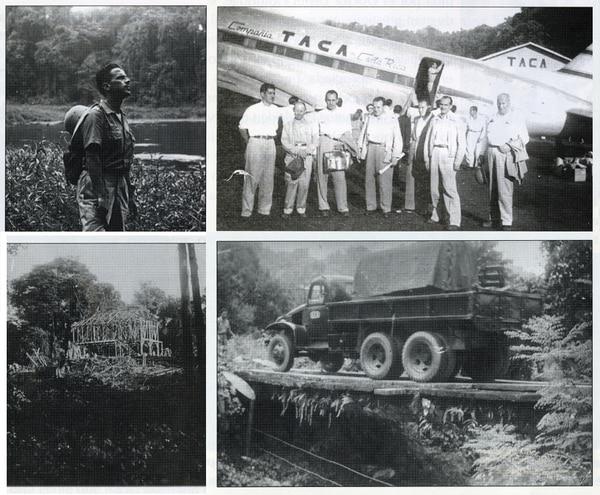 Arriba, izquierda: Guilio Sansonetti en la Laguna Julia, en 1961, poco antes de morir. Abajo, izquierda: La primera casa que construyeron los italianos en San Vito. / Arriba, derecha: Una de las primeras comisiones que visitó la zona. / Abajo, derecha: Sobre este puente, construido por los italianos, pasó la primera planta eléctrica que llegó a San Vito.