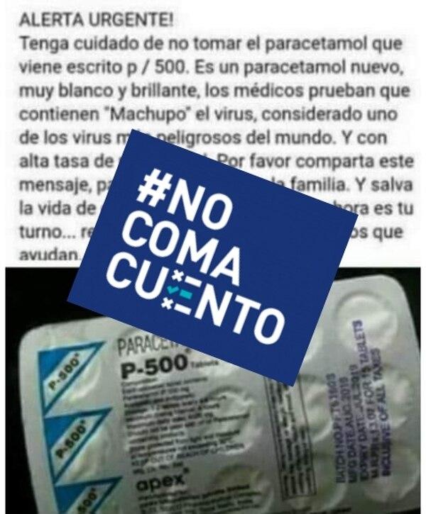 Información falsa sobre paracetamol infectada con machupo
