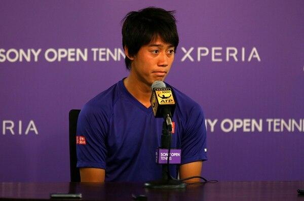 El tenista japonés Kei Nishikori ofreció una rueda de prensa para informar de que no jugará el partido de semifinales del Abierto de Miami contra el serbio Novak Djokovic por una lesión.