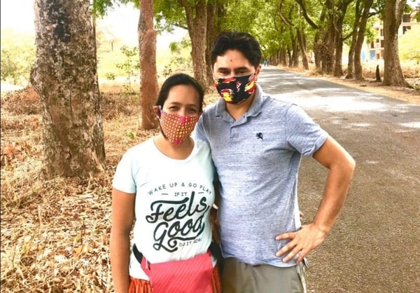 Karina Martínez Ceballos, vecina de San Ramón, y su esposo John Useche Garzón, se encuentran atrapados en en una aldea de Bisáu, capital del Guinea-Bisáu, África. Fotografía: Cortesía Karina Martínez.