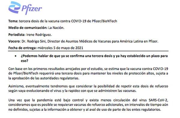 Esta es la respuesta de Pfizer ante una de las consultas realizadas por 'La Nación' relacionadas con la vacuna.