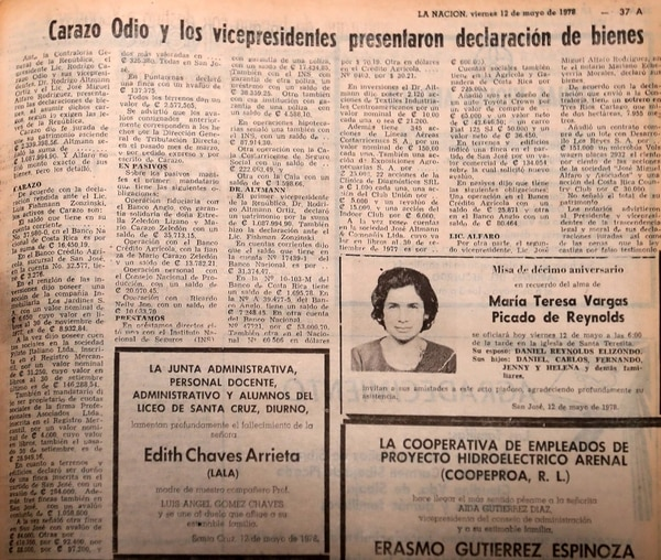 Noticia del 13 de mayo de 1978.