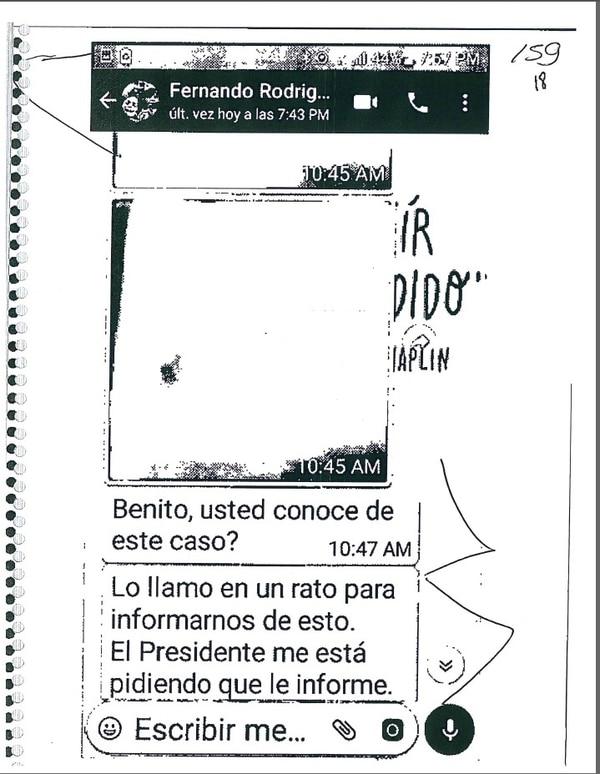 Mensaje de viceministro a Benito Coghi.