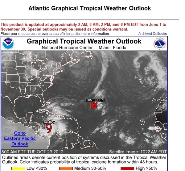 La tormenta tropical Sandy se localiza en Caribe a 525 km al suroeste de Jamaica pero la nubosidad asociada afecta a nuestro país. | TOMADO DEL SITIO WEB DEL CENTRO NACIONAL DE HURACANES.