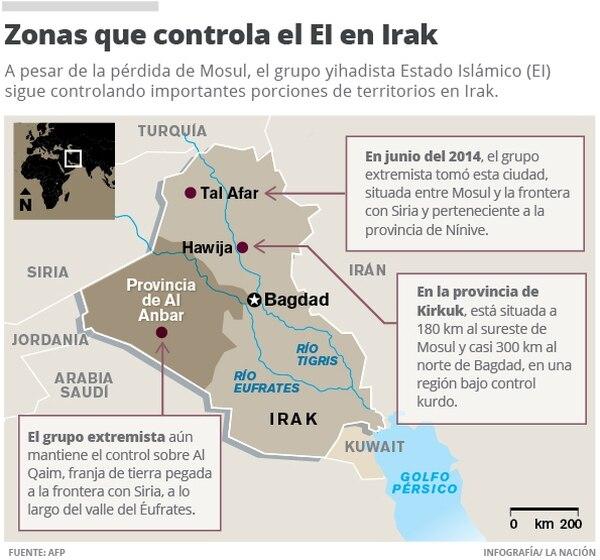 Zonas que controla el EI en Irak