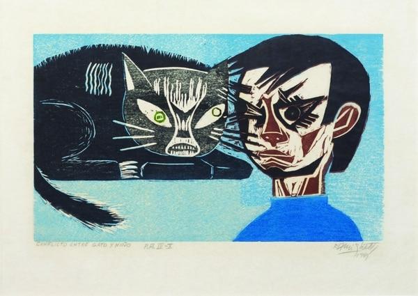 Conflicto entre gato y niño (1969), cromoxilografía de Francisco Amighetti Ruiz. Foto: Cortesía de Gabriel González/Museo de Arte Costarricense.