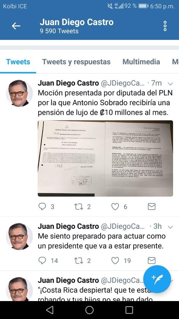 Tuit en el que el candidato presidencial del PIN, Juan Diego Castro, muestra la moción de la diputada Maureen Fallas, del PLN.