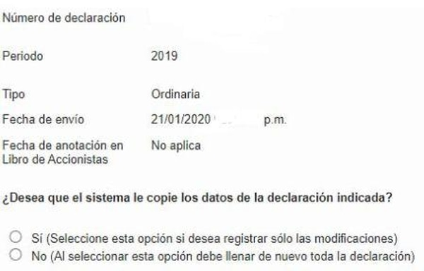 Así aparece en el Registro de Transparencia la opción para precargar la información. Foto: captura de pantalla suministrada por el abogado José María Oreamuno.