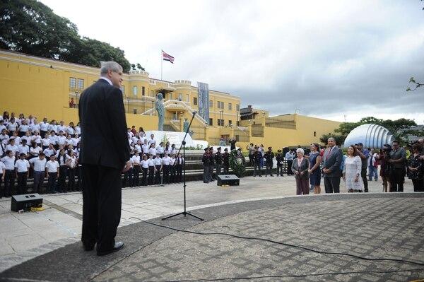 La Plaza de la Democracia es el sitio donde se celebra la abolición del ejército. Esta imagen corresponde al acto del 2017. Fotos Melissa Fernández Silva