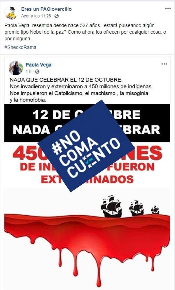 Posteo falso que se le adjudica a la diputada Paola Vega. Foto: Reproducción.