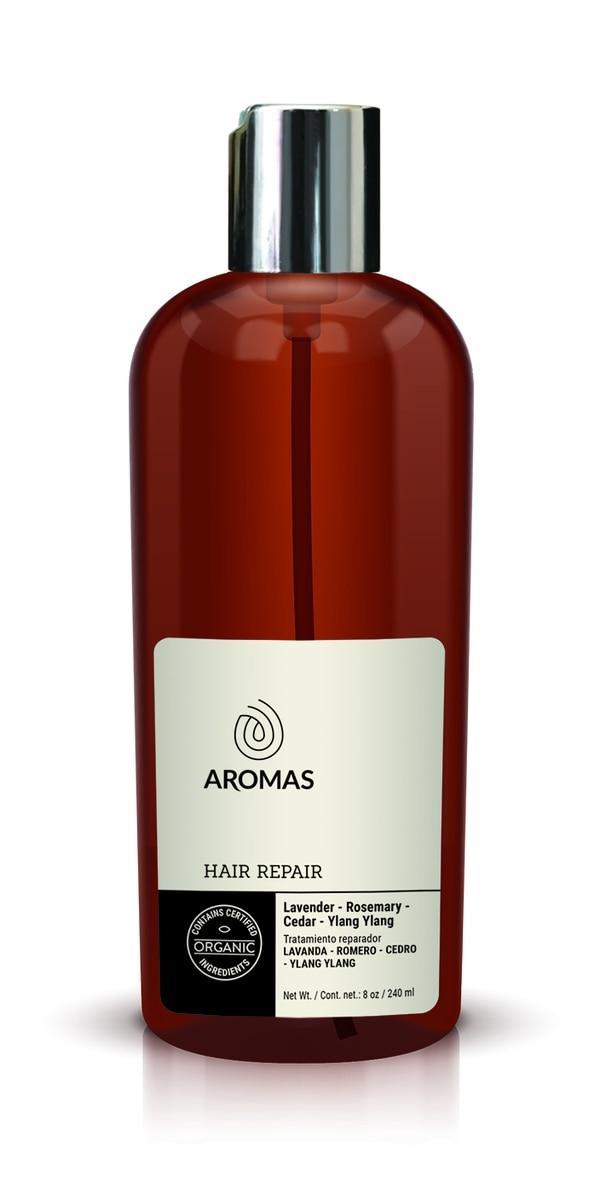 Tratamiento reparador de cabello de lavanda, romero, cedro e ylang ylang. Aromas