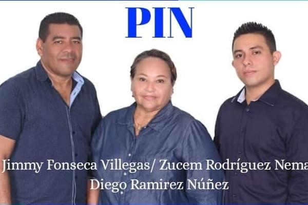 Jimmy Fonseca aspira a la alcaldía de Nicoya con el PIN; en la fórmula aparecen Zucem Rodríguez por la primera vicealcaldía y Diego Ramírez Núñez por la segunda. Foto: Facebook del PIN Nicoya.