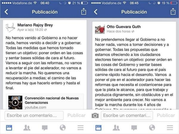 Guevara calificó como una coincidencia similitud de las palabras de ambos.