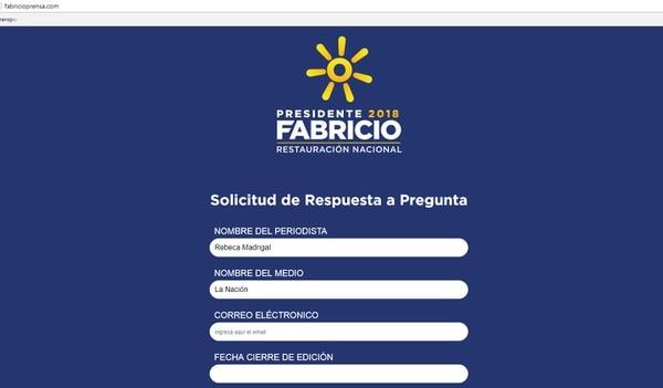 Formulario para hacer consultas a Fabricio Alvarado.