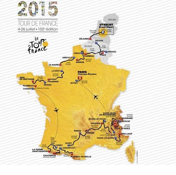 Mapa del recorrido que tendrá el Tour de Francia 2015.