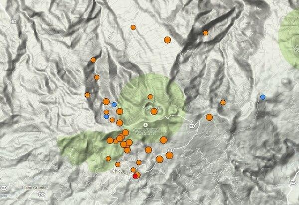 La RSN registra 20 sismos la madrugada de este sábado al norte de Cartago.