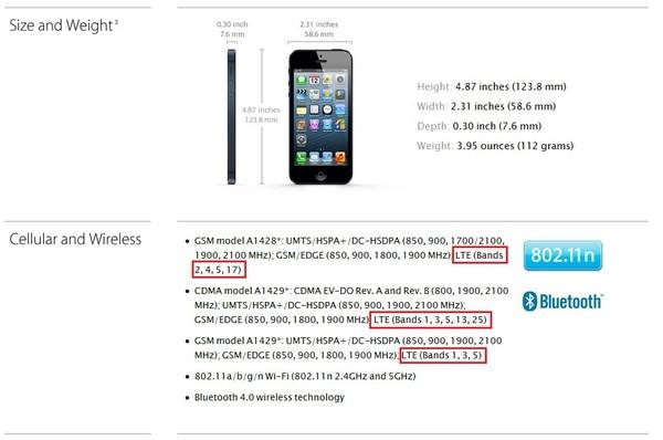Vista de las especificaciones técnicas del iPhone 5. Enmarcado en rojo, las redes LTE que los diferentes modelos sí aceptan.