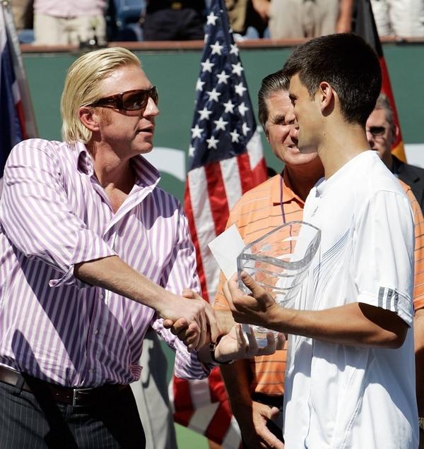 Boris Becker y Novak Djokovic en el torneo Indian Wells del 2007, cuando el serbio obtuvo el segundo lugar.