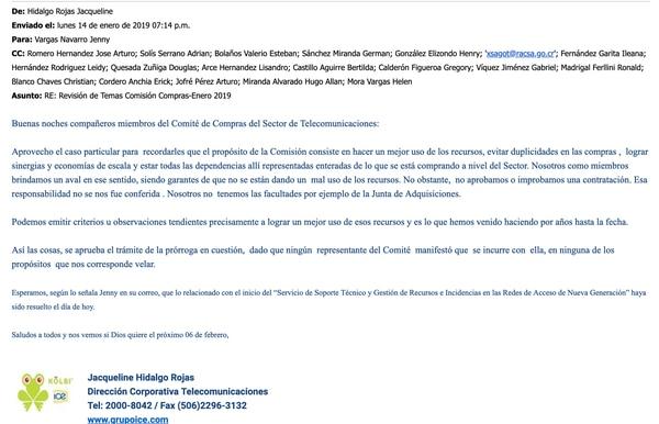 Este es el correo del 19 de enero donde Hidalgo Rojas aprueba una prórroga en una contratación ligada a un proveedor del ICE.