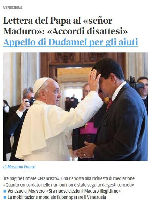 Información del diario italiano 'Il Corriere della Sera' sobre la carta del papa Francisco a Nicolás Maduro.