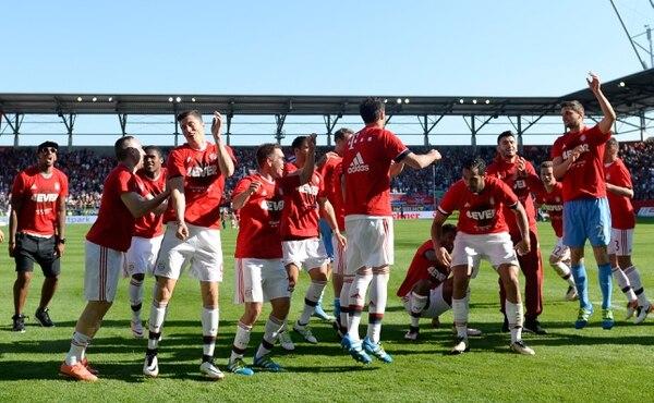 Los jugadores del Bayern Múnich celebraron el título de la Bundesliga.