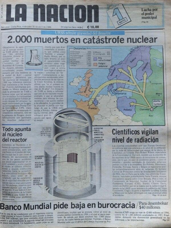 Portada de 'La Nación' del 30 de abril de 1986. Archivo Grupo Nación GN S.A.