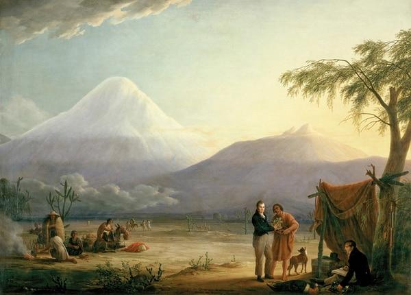 Esta pintura de Friedrich Georg Weitsch muestra a Alexander von Humboldt y Aimé Bonpland al pie del volcán del Chimborazo. Foto: Wikimedia Commons.