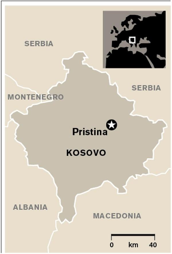 Mapa de ubicación, Kosovo.